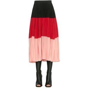 Akris Punto Colorblock Plissé Pleated Midi Skirt